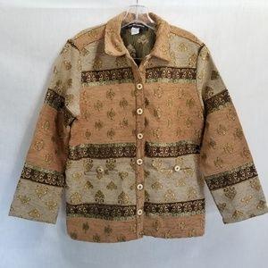 Sag Harbor Blazer Tan Tapestry Brocade Size 10